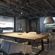 estilo industrial, interiorismo, madera, muebles